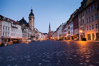 Altenburg Markt am frühen Morgen